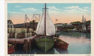 Massachusetts Gloucester Harbor Scene Curteich