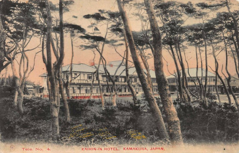 Kaihin-In Hotel, Kamakura, Japan, Early Hand Colored Postcard, Unused
