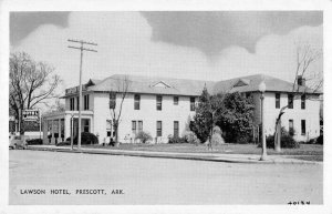 Prescott Arkansas Street scene, black and whie Lawson Hotel vintage pc BB62