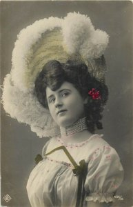 glamour beauty lady fancy feather hat necklace coiffure early postcard