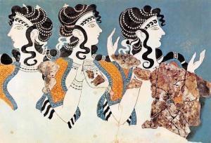 Heraklion Museum, Ladies in Blue, Fresco from Knossos