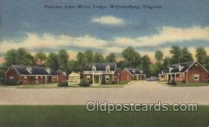 Princess Anne Motor Lodge, Williamsburg, Virginia, USA Motel Hotel 1956 light...