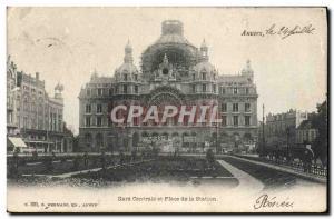 Old Postcard Antwerp Station Gentrale And Place De La Station