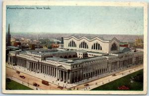 New York City Postcard Pennsylvania Station Railroad Depot Bird's-Eye View 1922