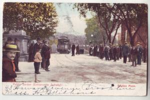 P1132 1908 used postcard crowd of people subway entrance, subway boston mass