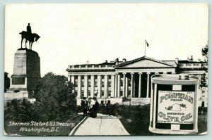 Washington D.C.~US Treasury & Sherman Statue~Pompeian Olive Oil Ad~c1910 B&W