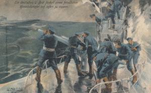 German U-Boat (Submarine) & attacking w/ gun , 00-10s