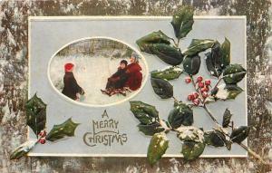 Christmas~Victorian Children Sledding~Snowbank~Holly Berry~Tree Bark Border~EMB