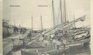 Postcard Croatia Cirkvenica Hafenpartie sea boat sail fishing