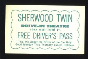 1960's Sherwood Twin Drive-In Theatre Driver's Pass, Dayton, Ohio/OH