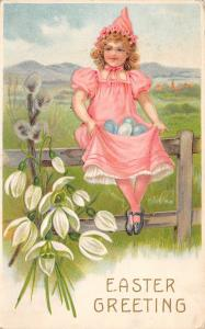 Easter~Victorian Girl in Pink on Fence~Blue Eggs in Lap~Snowdrop Lilies~BW 307