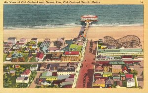 USA Air View of Old Orchard and Ocean Pier Old Orchard Beach Maine - 04.90
