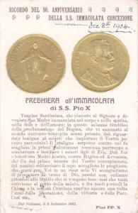 Ricordo del 50 Anniversario , Della S.S. Immacolata Concezione, 1904 S.S. Pio X
