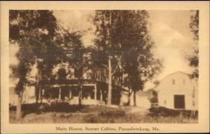 Passadumkeag ME Main House Sunset Cabins Postcard