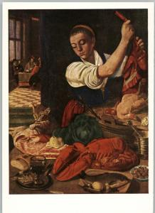 RARE Young woman at the table with lobster Cat Still life Russian Postcard