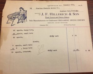 1912 J. Hillerich & Son LOUISVILLE KY Pre-Slugger Bat Wood Turner Letterhead
