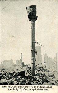 MA - Chelsea. April 12, 1908 Fire Ruins, Corner of 4th St. & Broadway