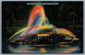 Postcard Tulsa OK c1939 Swan Fountain Swan Lake Night View Linen