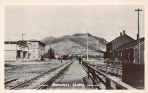 Real Photo Postcard Railroad Tracks General Store Carcross, Yukon, Canada~129708