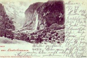 GRUSS AUS LAUTERBRUNNEN SWITZERLAND 1899