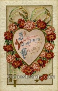 Valentines Day 1911 repaired tear right edge, heavy wear, a lot of yellowing ...
