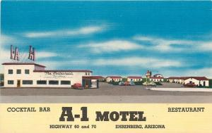 Ehrenberg Arizona~A-1 Motel~Restaurant and Bar 1940 Linen Roadside