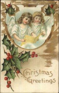 Christmas - Angels Singing Book c1910 Embossed Postcard