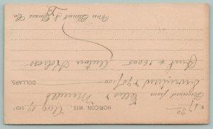 Horicon Wisconsin~Van Brunt & Davis Co~Order Receipt~Aug 19th 1891