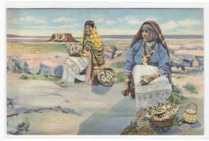 Pueblo Native American Indian Women Pottery Seller New Mexico postcard