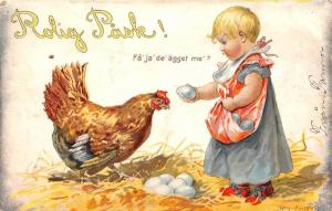 Easter,  Rolig Pask,   girl collecting eggs, from hen Artist  signed Jen...