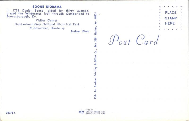 Daniel Boone Diorama Cumberland Gap Natl Historical Park Vtg Postcard L01