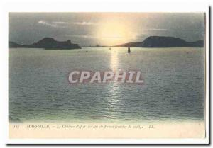 Marseille Old Postcard The Chateau d & # 39if and the islands of Friuli (sunset)