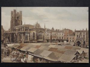 Cambridge: Market Place & Church - busy animated market scene - Old Postcard