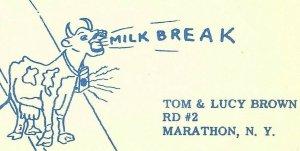Vintage QSL Postcard  KID 6311  Marathon, New York  Tom & Lucy Brown   -T-