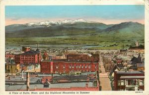 Butte Montana~Rooftop View of City and Highland Mountains~1930s Postcard
