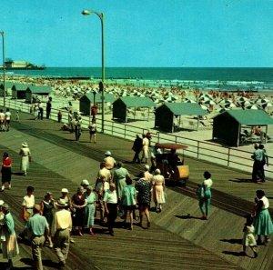 Atlantic City New Jersey NJ Boardwalk Vtg Chrome Postcard Plastichrome