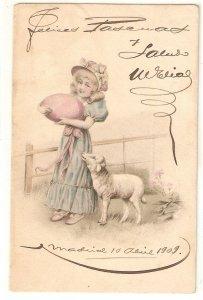 Little girl carrying big egg. Dog Nice old vintage German postcard
