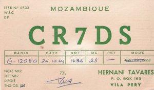 Dipole Mozambique QSL 1960s Vintage Radio Card Ephemera