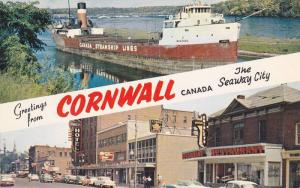 Greetings from Cornwall, The Seaway City, Canada Steamship and City Street Vi...