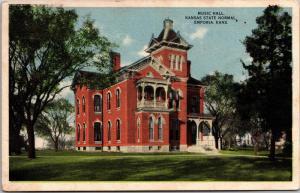 Music Hall, Kansas State Normal, Emporia KS Vintage Postcard H01