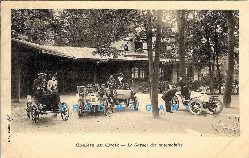 1904 paris france pc chalets du cycle le garage des automobiles hippostcard. Black Bedroom Furniture Sets. Home Design Ideas