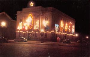 Logan Ohio~Courthouse Christmas Decorations~Neon Night Lights~1956 Postcard
