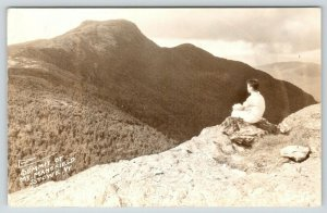 Stowe Vermont~Young Man on Top of Rock Surveys Summit of Mt Mansfield~1948 RPPC