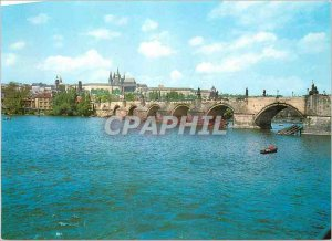 Postcard Modern Praga Castle and Charles Bridge