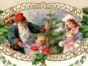 c 1910 Blue Robed Santa St Nick Shares Gifts Victorian Children Holly  Postcard