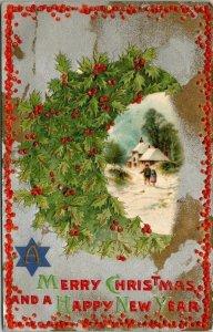 Postcard Merry Christmas Happy New Year Holly Moon Star Holly 1909 Nebraska 1810