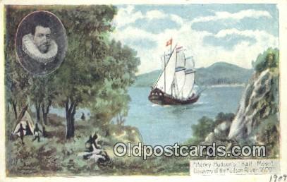 Henry Hudson Half Moon, Hudson River, New York, NY USA Sail Boat Postcard Pos...