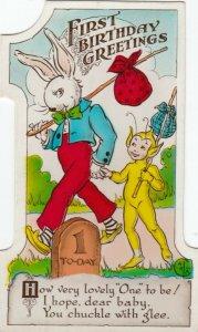 BIRTHDAY, 00-10s; Greetings, No. 1, Robbit & Child in elf costume