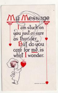 P108 JLs 1913 postcard stuck on you as thunder i wonder