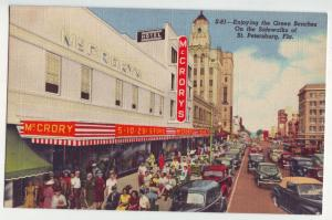 P1135 linen unused postcard mc cory 5 & 10c store crowds people many old cars fl
